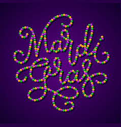 mardi gras lettering consist of gold green vector image