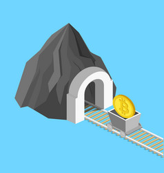 Metaphor for bitcoin mining isometric vector