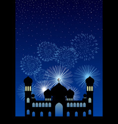mosque and fireworks background vector image
