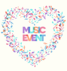 music event notes background heart shaped frame vector image
