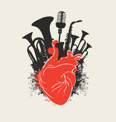 Music poster with human heart and wind instruments vector