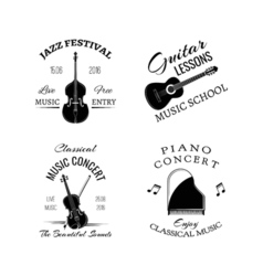 Music vintage retro label and badge Guitar Piano vector