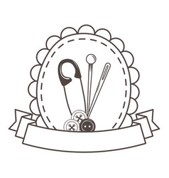needle button and pin tool design vector image