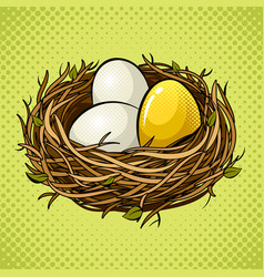 Nest with golden egg pop art vector