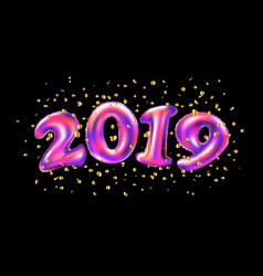 new year 2019 celebration pink foil balloons vector image