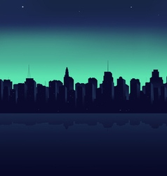 Night city on a background an ocean vector