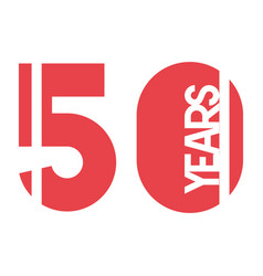 number 50 for anniversary celebration card icon vector image