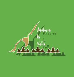 paper sticker on theme of andorra logo mountains vector image