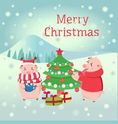 piglets decorating christmas tree during snowfall vector image