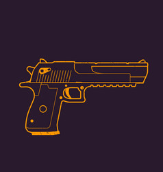 Pistol outline handgun gun vector