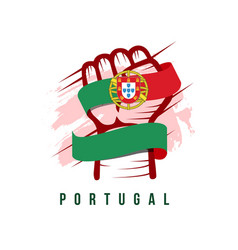 Portugal hand and flag template design vector