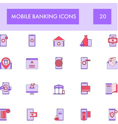 Purple and pink color set mobile banking icon vector