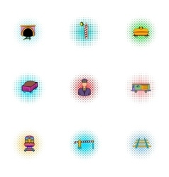 Railway icons set pop-art style vector