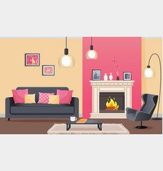 room in pink with fireplace and furniture vector image