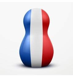 Russian tradition matrioshka dolls in France flag vector image