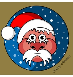 Santa Claus in a gold circular window vector