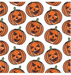 scary pumpkin halloween comic pattern vector image