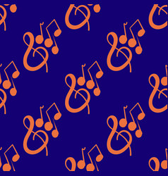 seamless pattern on musical theme with violin key vector image