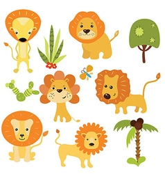 Set funny lions vector image