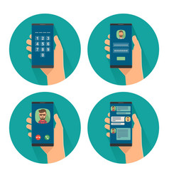 Set icon with male holding smartphone color flat vector