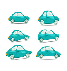 set of cartoon cars on different shapes vector image