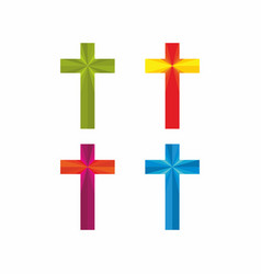 Set of christian crosses vector
