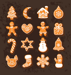 set of cute traditional gingerbread christmas vector image