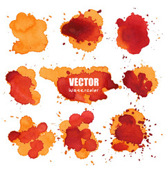 set of splash orange watercolor splash vector image