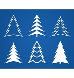 Set of white Christmas trees Flat design vector image