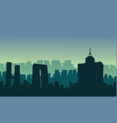 silhouette of mexico city scenery at sunrise vector image vector image