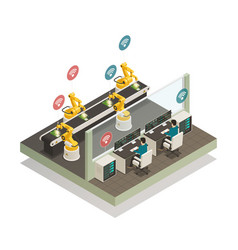 Smart industry manufacturing isometric composition vector