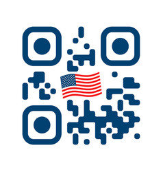 smartphone readable qr code with usa flag icon vector image