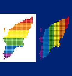 spectrum pixel dotted greek rhodes island map vector image