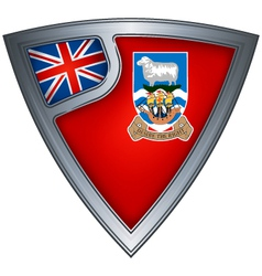 steel shield with flag falkland islands vector image