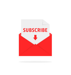 Subscribe newsletter with red letter vector