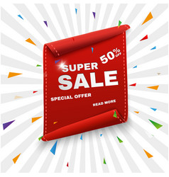 Super sale banner ribbon red vector
