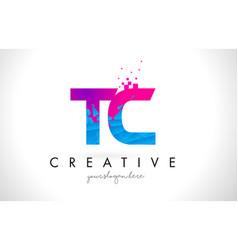 Tc t c letter logo with shattered broken blue vector
