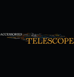 Telescope accessories text background word cloud vector