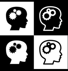 thinking head sign black and white icons vector image