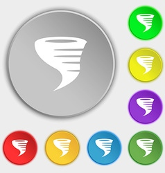 Tornado icon Symbols on eight flat buttons vector image