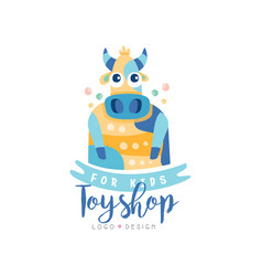 Toyshop for kids logo design cute badge can be vector