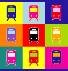 train sign pop-art style colorful icons vector image