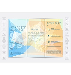 Tri-Fold Brochure mock up design Polygonal vector image