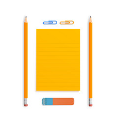 two orange realistic pencil lies with rubber and vector image
