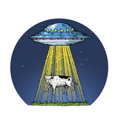 Ufo kidnaps the cow color sketch engraving vector