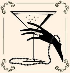 vintage champagne vector image