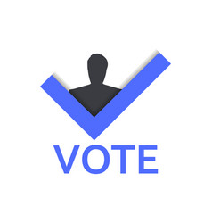 voting symbol check mark and man vote yes vector image