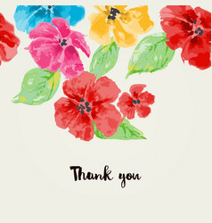 watercolor flowers background for greeting cards vector image