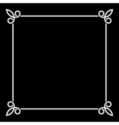 white border vintage frame on black background vector image