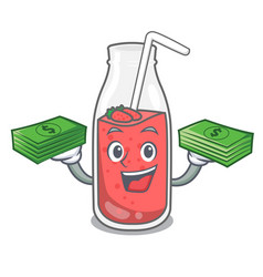 With money bag strawberry smoothie mascot cartoon vector